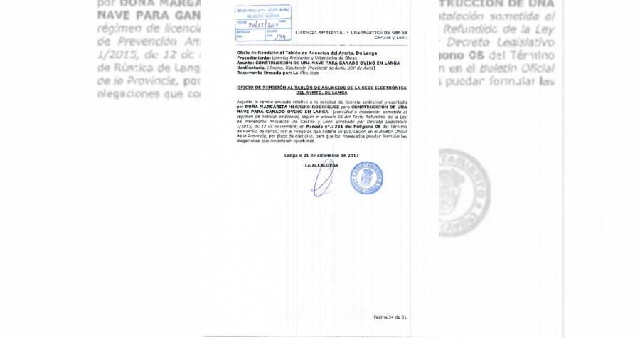 Licencia nave ganado ovino